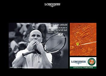 Agassi en une du site Longines.com