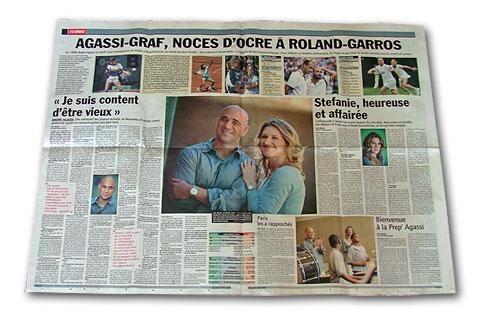 L'Equipe du 21 mai 2009 : deux pages sur Graf et Agassi