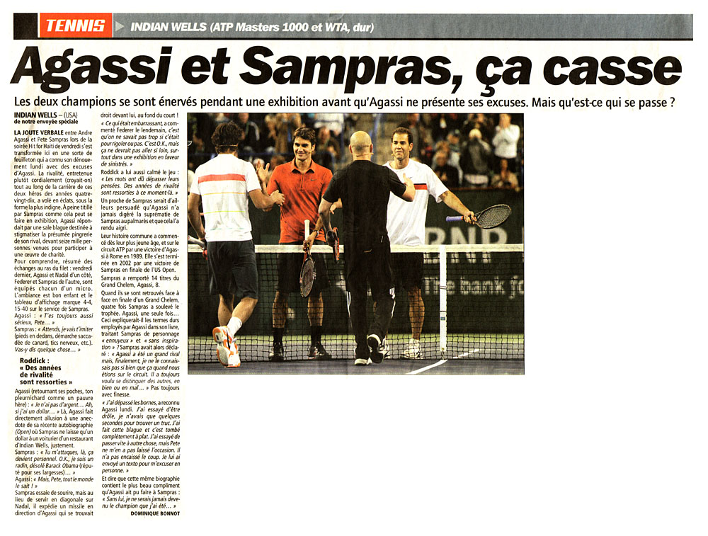 L'article de L'Equipe sur l'incident d'Indian Wells